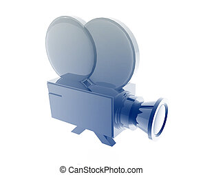 Old film camera illustration glossy metal style isolated