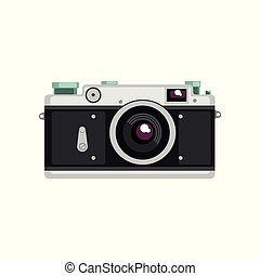 Old film camera vector Illustration on a white background