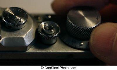 old film photocamera shooting