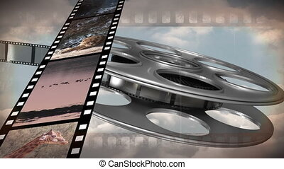 Old film reel - Digitally generated animation of film with ...