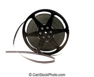 Old film reel - An old film reel with film on a white...