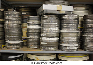 old film rolls archived in a shelf