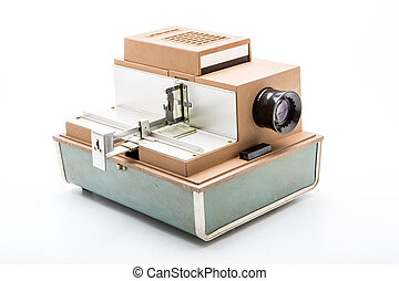 Old film slide projector on white
