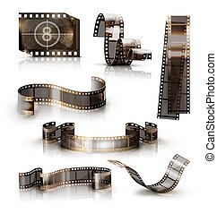 Old film strip. 3d vector icon set