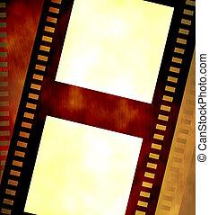 Old negative coloured film strip