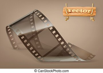 Old film strip with transparency, 3d vector icon