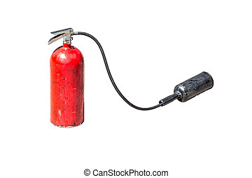 old fire extinguisher with head spray isolate on white background