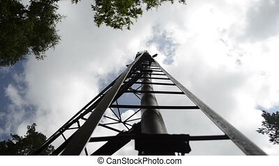 Old fire tower in the forest