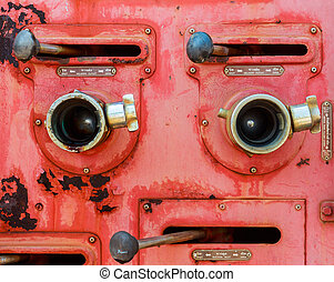 Old fire truck equipment with fading color