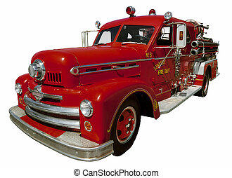 Old Firetruck - Isolated image of an old firetruck. Clipping...