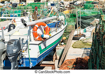 Old fisherboat in a shipyard - Old fisherboat and fishing...