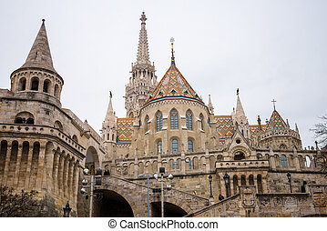 Fisherman's Bastion - old Fisherman's Bastion in Budapest at...