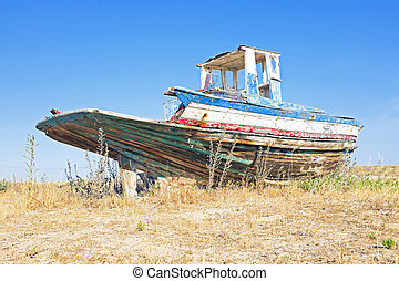 Old fishers boat in Portugal