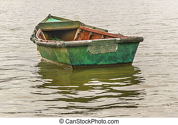 Old Fishing Boat at Santa Lucia River in Montevideo - Old...