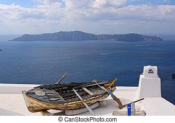 Old fishing boat - Greek scene on Santorini