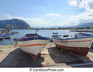 fishing boat - old fishing boat in palermo , italy