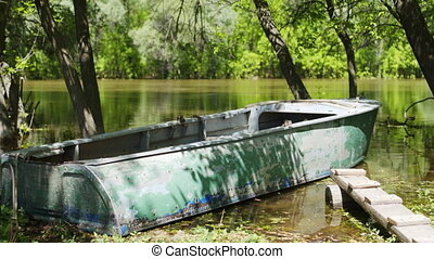 Old fishing boat in river
