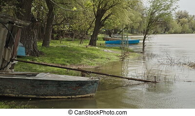 Old fishing boat on the river