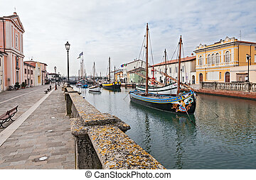 old fishing boats in Cesenatico, Italy