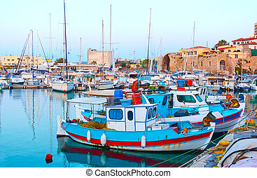 Old fishing boats in Heraklion - Old fishing boats in the ...