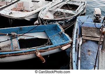 Old fishing boats in the port