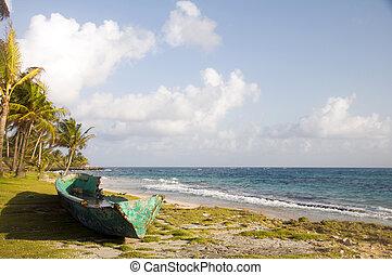 old fishing boats on land corn island nicaragua