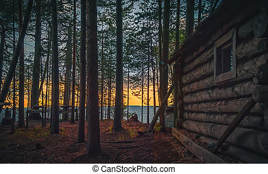 Old fishing hut in the forest