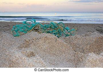 Old Fishing Net on Beach