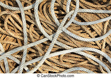 Old fishing rope on boat