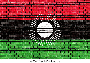 old flag of Malawi painted on brick wall