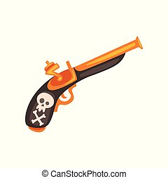 Old flintlock pistol, ancient weapon vector Illustration on a white background