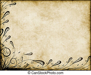 great large background of parchment paper with floral design