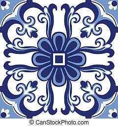 Old floral tiles - Background vintage flower. Seamless...