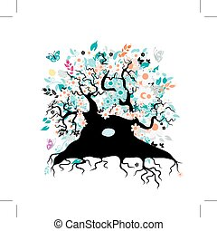 Old floral tree with roots for your design