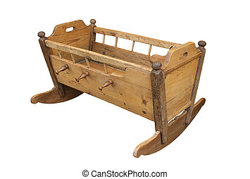 old folk wooden cradle