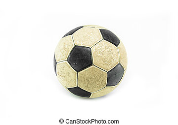 Old football ball isolated on white background
