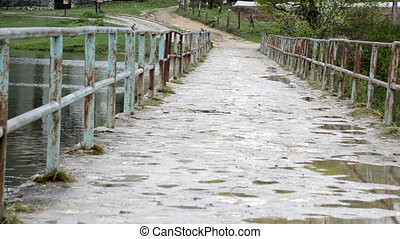 old footstep wooden bridge with metal rail in forest with water below