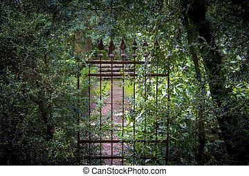 old forgotten, iron gates