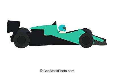 Old formula racing car. Flat vector illustration