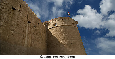 Old Fort. Dubai, United Arab Emirates (UAE). This castle/fort is the oldest building still standing in Dubai (United Arab Emerites) which is now part of the Dubai museum