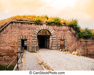 Old fortification gate in Terezin, Czech Republic