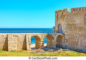 Old fortress in Syracuse - Old fortress by the sea in...