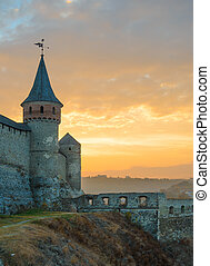 Old Fortress in the Ancient City of Kamyanets-Podilsky,...