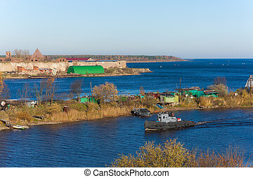 Ladoga channel - old fortress Oreshek and Ladoga channel,...