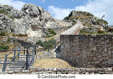 Old fortress - Steps and walls of old fortress on the rock...