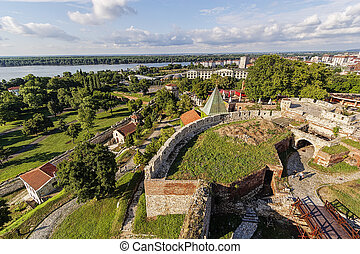 Old fortress wall and confluence of two rivers - Belgrade...