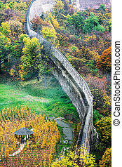 old fortress wall, autumn, Prague