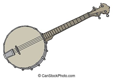 Old four strings banjo - Hand drawing of a vintage four...