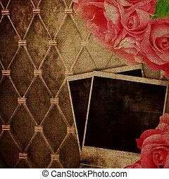 Old frame for photo on vintage background