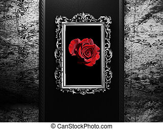 old frame on the dark wall